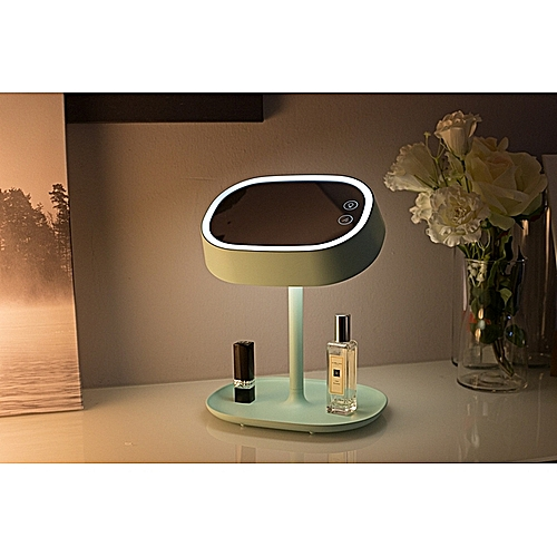 Makeup Mirror Table Lamp With Lamp Mirror Desktop Led Girl Heart Folding Princess Mirror Charging Net Red Vanity Mirror