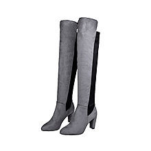 172a5fd24 Women Over The Knee Block Long Booties Stretch Block Boot High Heels Suede  Shoes
