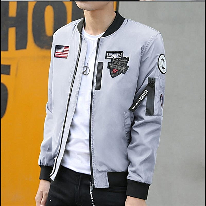 Grey Hot Sale New Fashion Brand Jacket Men Clothes Trend College Slim Fit  High-Quality e4ffeca7154
