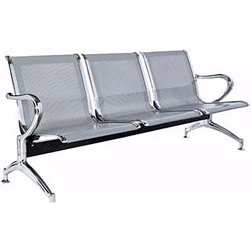 Office Reception Waiting Chair - 3-seater - Silver