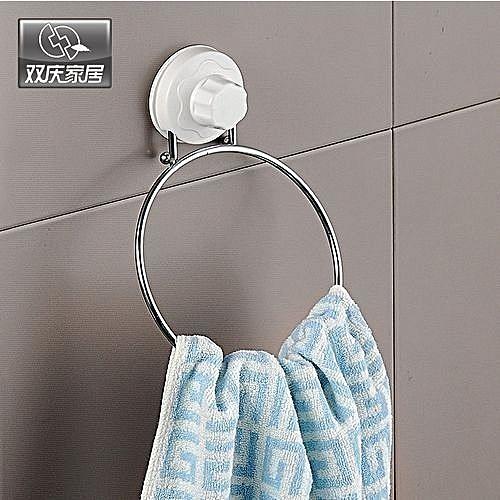 Bathroom Towel Ring Hanger And Organizer--Silver