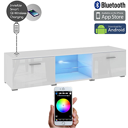 Smart LED Control Wireless Fast Charging Floor TV Stand 2.0