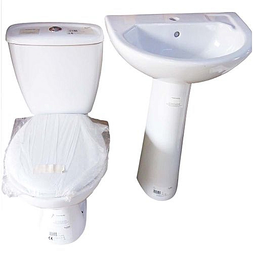 Toilet Seat Tank Basin And Pedestal Top Flush