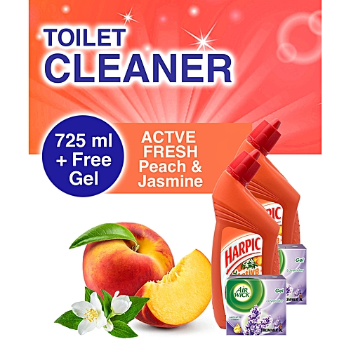 Toilet Cleaner: Peach & Jasmine 725ml + FREE AirWick Drummer Gel - Pack Of 2