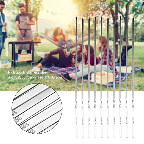 10pcs BBQ Barbecue Stainless Steel Grilling Flat Skewers Needle 35cm