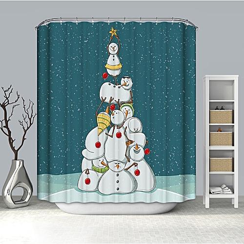 Christmas Waterproof Bathroom Shower Curtain 180x180CM Tub Xmas Home Decor