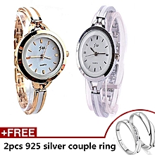 a865c046d192 2 In 1 Tiny Bracelet Fitted Ladies Watch - Silver And Rose Gold Colour