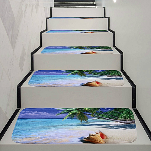 Bioaldla Store 1Set StepBasic Non-Slip Coral Fleece Resistant Carpet Stair Mat