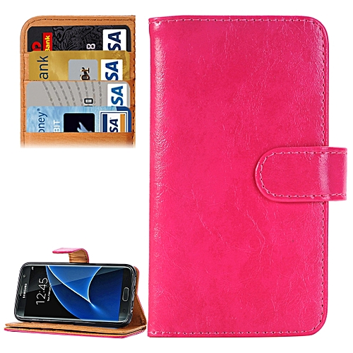 Generic For Samsung Galaxy S7/G930 Crazy Horse Texture Horizontal Flip Leather Case With 3 Pages Of Card Slots & Wallet & Holder (Magenta)