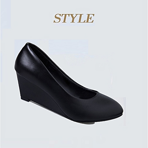 Female Wedge Work Shoe - Black - 806