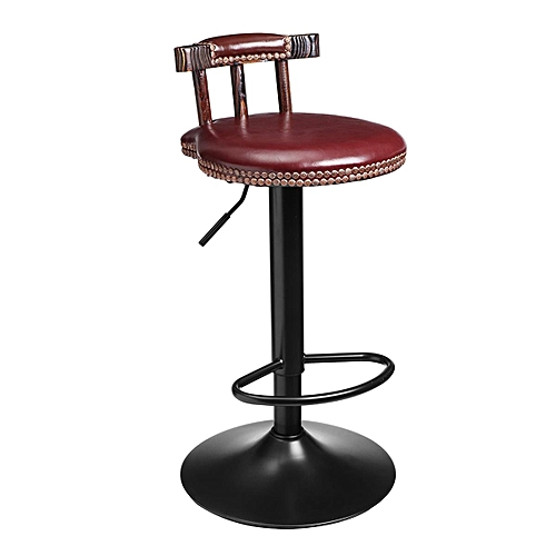 Vintage Leather Breakfast Bar Stool Swivel Barstools Home Kitchen Footrest Chair