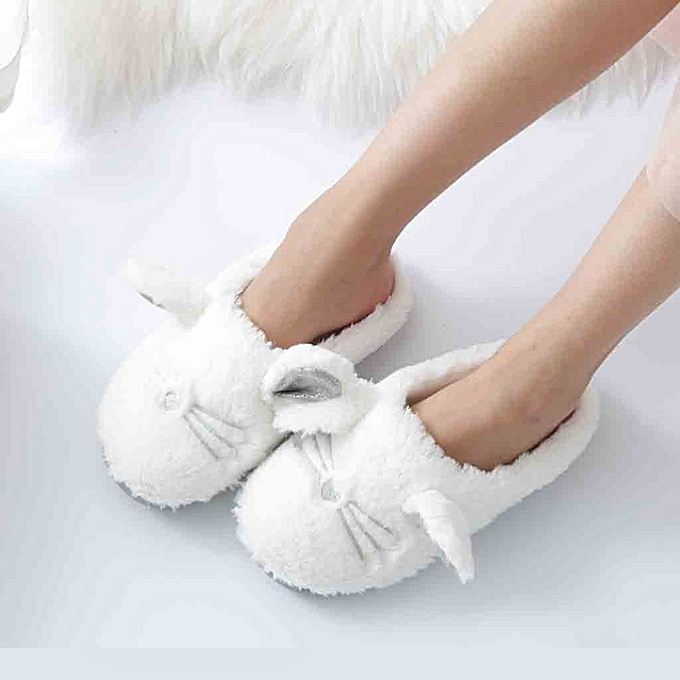 f13fb4b665c Birthpar Store Soft Sole Cozy Plush Cute Indoor Home Slippers Comfortable  Home Shoes Women-White