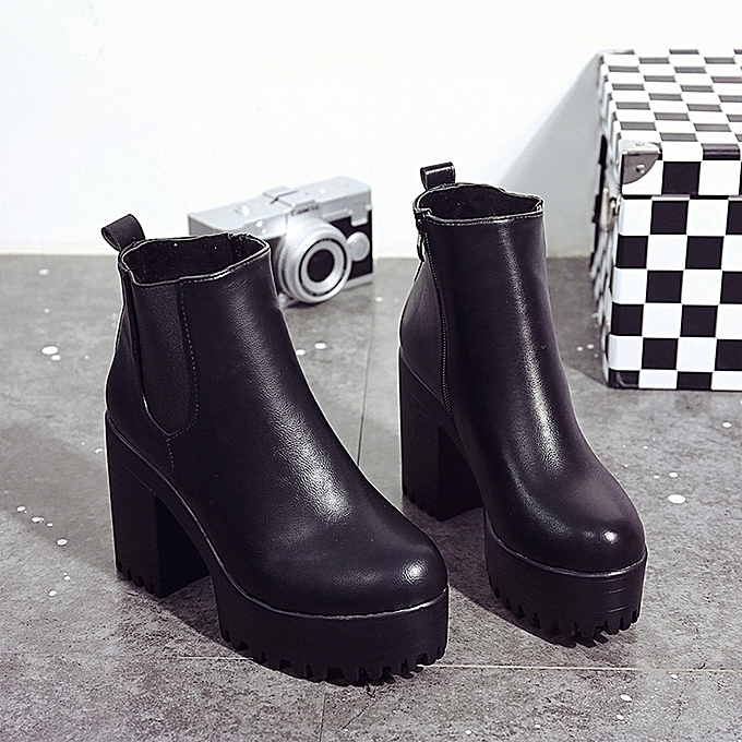6e30ad155f ... Women Boots Square Heel Platforms Leather Thigh High Pump Boots Shoes BK  35 ...