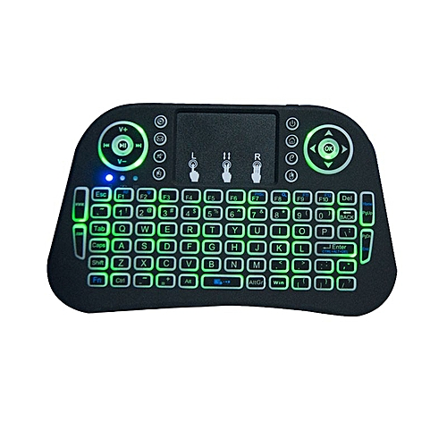Backlit Mini Wireless Keyboard 2.4GHz 3 Color Touchpad Rechargeble For PC TV BOX Tablet