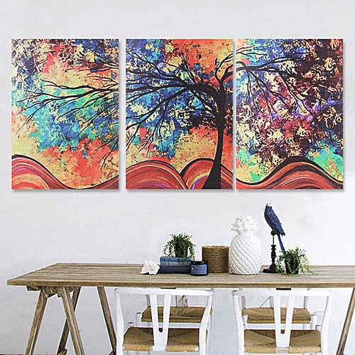 3Pcs Abstract Colorful Tree Canvas Print Art Painting Picture Home Decor Framed