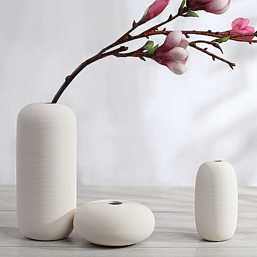 QUKAU Ceramic Vase Three-piece Set Decoration Household Flower Pot Home Decoration Handicraft Nordic White Vase Flower Arrangement