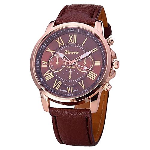 Leather Unisex Wristwatch - Brown