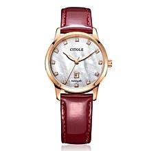 Bontek Electronic CITOLE Ladies Watch Leather Diamond Authentic Korean Simple Calendar Temperament Leather Waterproof Quartz Table