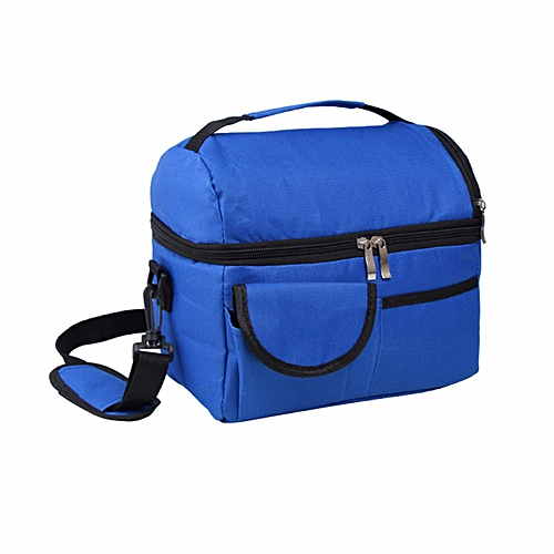 Insulated Portable Tote Work Picnic Travel Lunch Ice Bag Double Layer Navy Blue