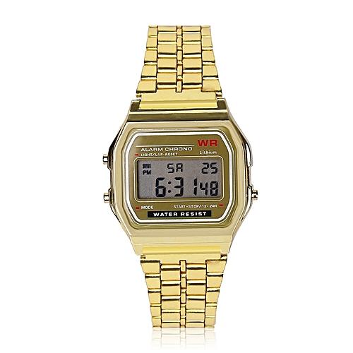 Fashion LED Digital Waterproof Quartz Dress Unisex Wrist Watch - Gold