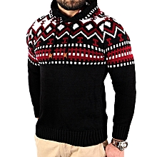 90bee60d1b7592 Men  039 s Knitted Jacket Turtleneck Cardigan Winter Pullover Hoodies  Casual Sweaters - Red