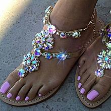 ff4efa1c5 Platform Shoes 2017 Shoes Woman Sandals Women Rhinestones Chains Flat  Sandals Plus Size Thong Flat Sandals