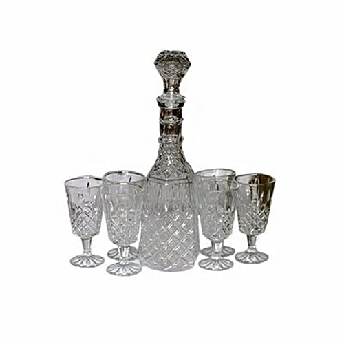 Decanter Glass Cups And Jug - 7 Pcs
