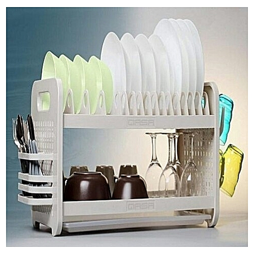 Rustless 2 Tier Plastic Dish Drainer And Plate Rack - White