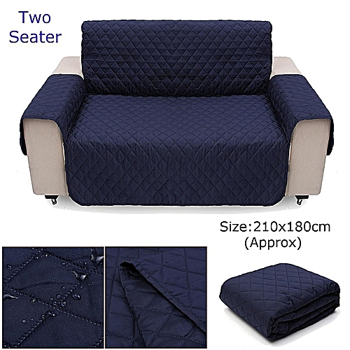 Couch Sofa Cover Removable Quilted Slipcover Pet Protector W/ Strap 1 2 3 Seater (Dark Blue)