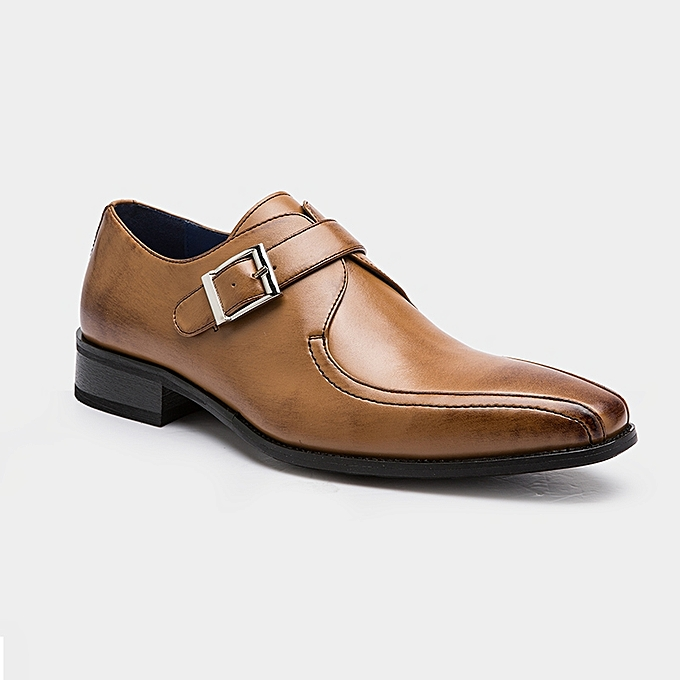 3bb8a25e693 Recoba Men Genuine Leather Formal Dress Monk Strap Shoes - Brown ...