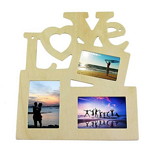 Eleganya 1PC Boutique Wooden Simple LOVE Siamese Letters Shape Photo Frame