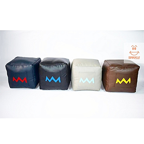 Set Of 4 Leather Pouf