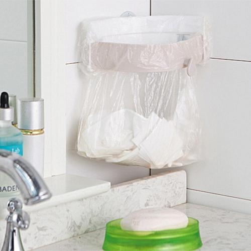 Kitchen Sink Sucking Clip-on Plastic Garbage Bag Rack - Gray