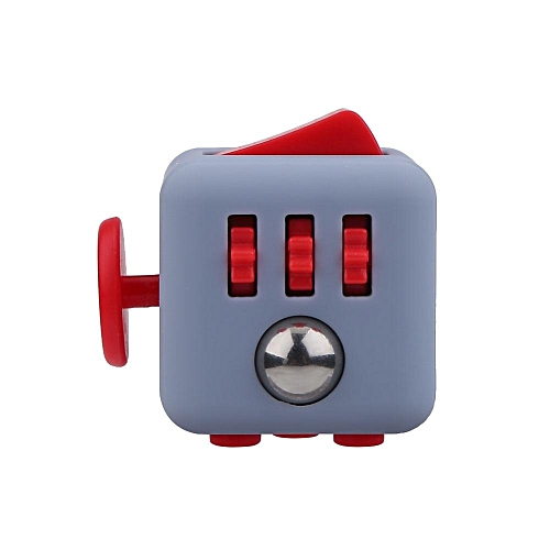 1Pc Fidget Puzzle Cube Stress Anxiety Relieve Hand Focus Toy Gift For Kids Adults (Grey&Red)