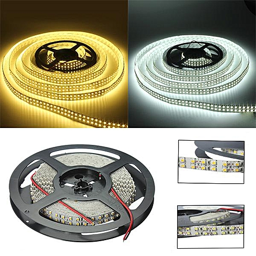 5M Double Row Tube 5050/3528 600/1200 LED Cool/Warm White Waterproof Strip Light Pure White