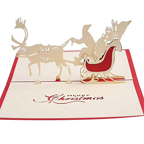 Christnas 3D Pop Up Santa Elk Ride Merry Series Invitation Greeting Cards