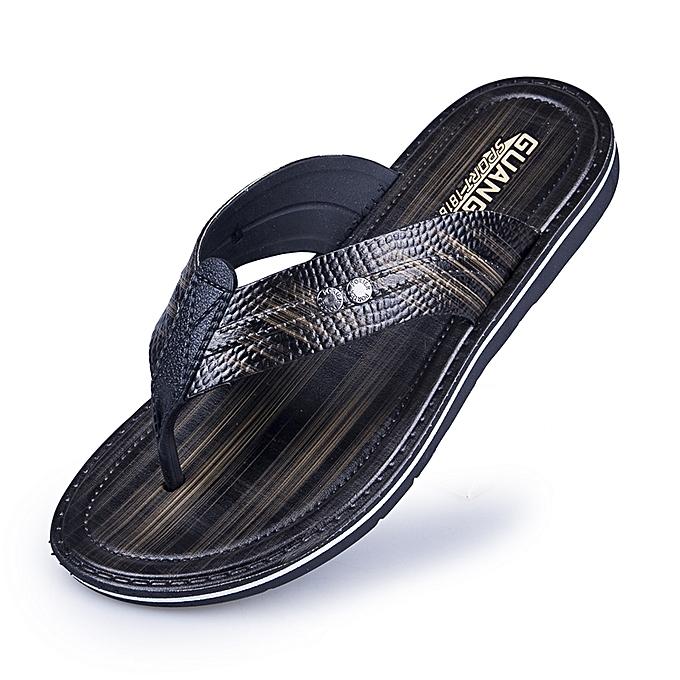 b9fc95164 Mens Flip Flops Slip On Slipper Fashion Woven PU Leather Sandals