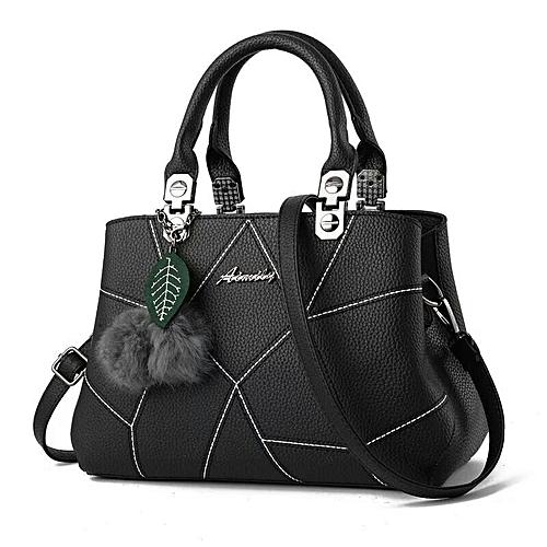 Leather Handbag With Leaf Charm - Black