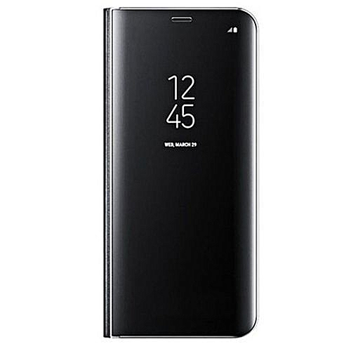 Samsung Galaxy S8 Luxury Sensor-Clear View Smart Flip Leather Phone Cover  -Black