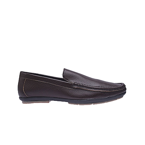 Plain Casual Synthetic Leather Loafers - Brown