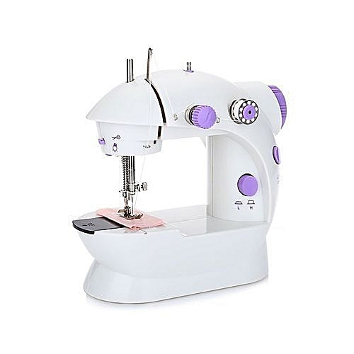Mini Sewing Machine Double Speed Automatic Thread With Light UK Plug - Purple