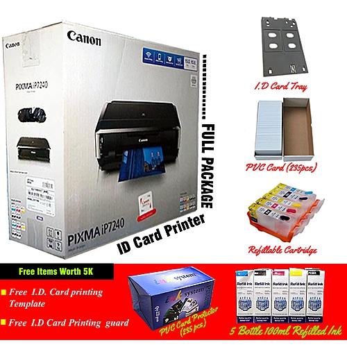 PIXMA IP7240 Full Package Plastic I.D Card/Photo/CD Cost Effect Printer