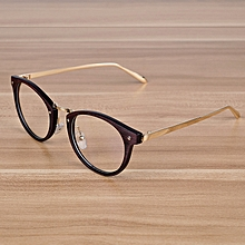 fbf53f6ee68b5 Retro Eyeglasses Optical Frames With Clear Lens Wooden Imitation Round Vintage  Metal Glasses Eyewear Spectacle Frames