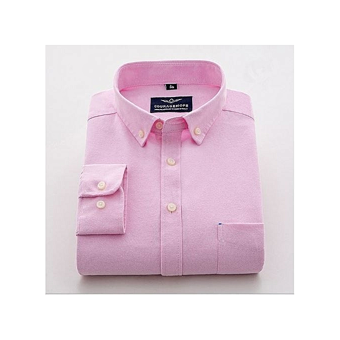 b745be5b CourageHope Plain Long Sleeve Oxford Shirt - Pink | Jumia NG