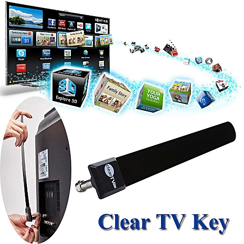 Clear TV Key HDTV FREE TV Digital Indoor Antenna 1080p Ditch Cable As Seen On TV-Black