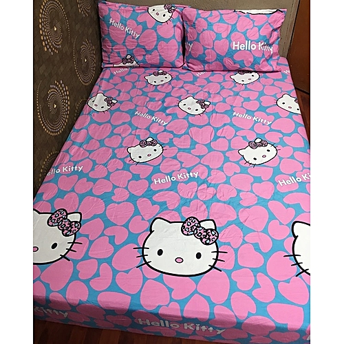 Hello Kitty Pink And Blue Coloured Bed Sheet