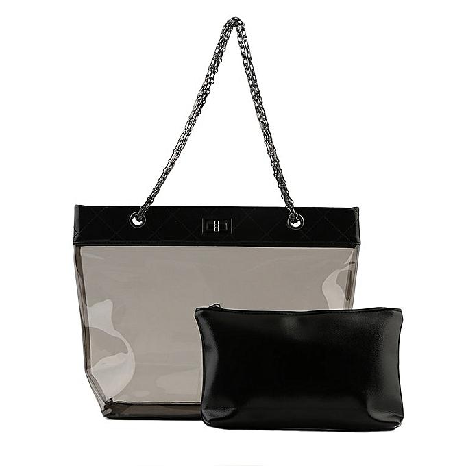 UJ Womens Jelly Clear Transparent Tote PU Leather Chain Bag Shoulder Bags  Handbag-black ba943bab4c38