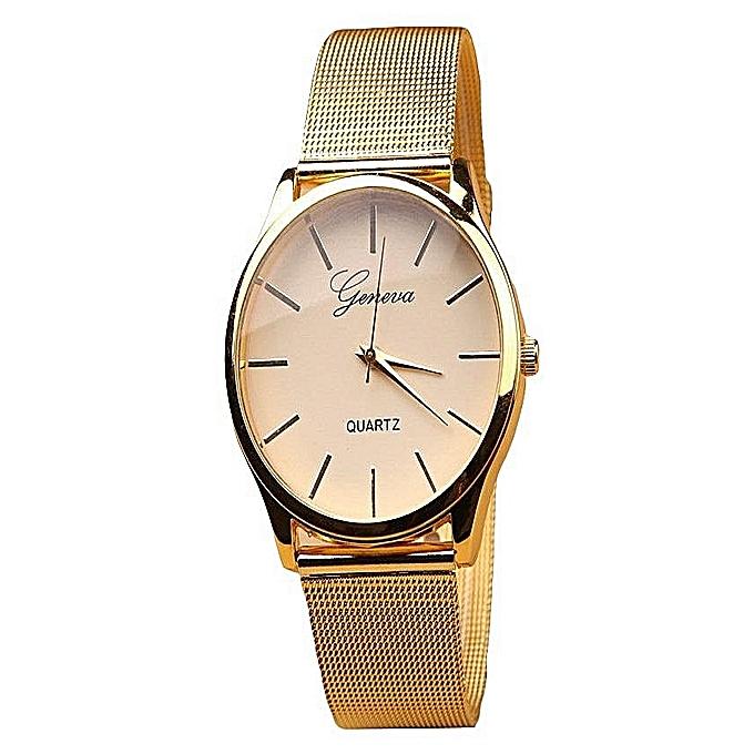 Unisex Classic Roman Numerals Bracelet Strap Quartz Wristwatch - Gold