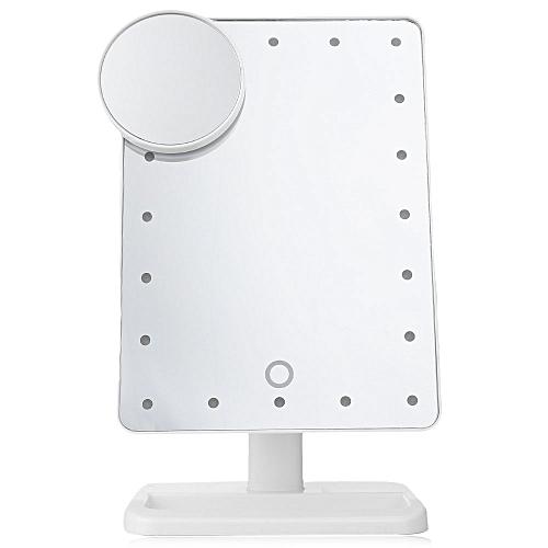 Portable Folding Table 20 LEDs Lamp Luminous Cosmetic Mirror - White