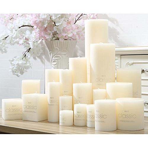 Romantic Wedding White Cylindrical Candles Classic Column Wax Smokeless No Tears Tasteless